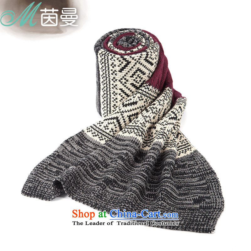Athena Chu Cayman autumn and winter scarves knitted knitting arts geometry pattern warm-ups (844140029] Gray Gray