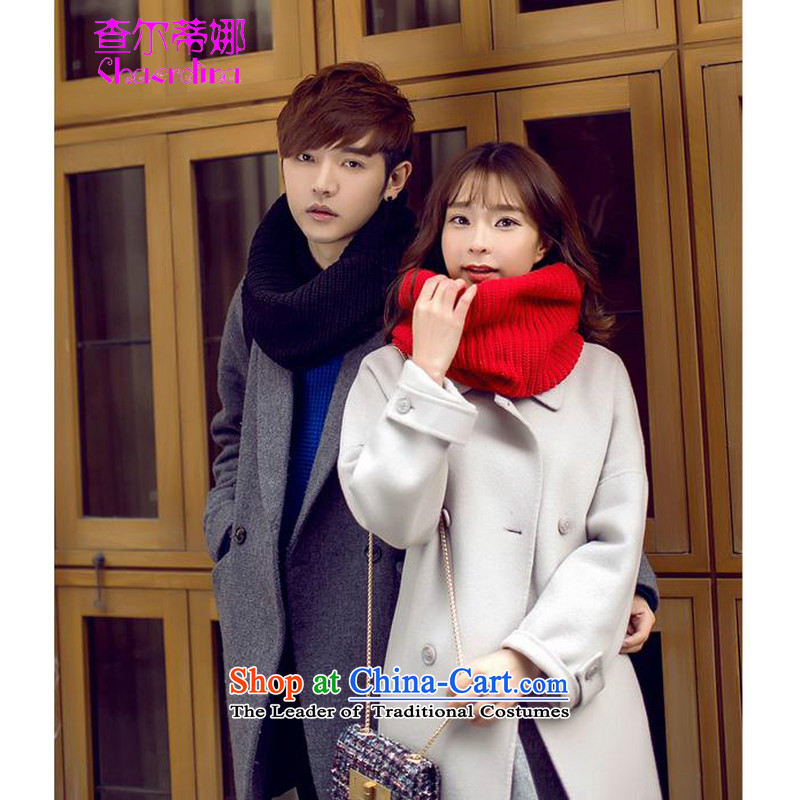 For the 2015 autumn and winter new taxi Korean men and women students Knitting scarves a couple black
