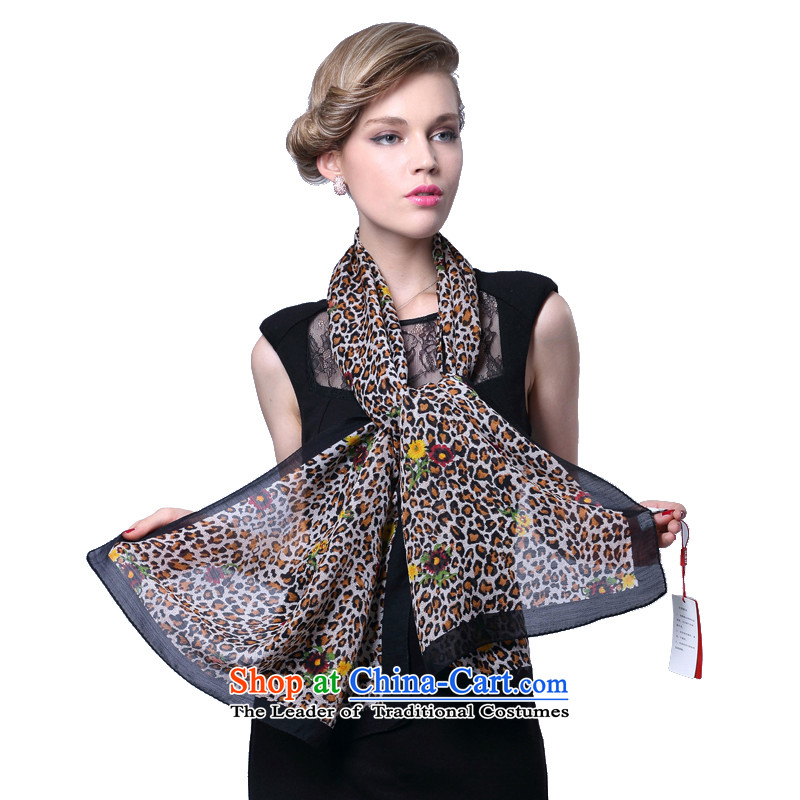 Hang Yuen Cheung-wool Ms. herbs extract scarf silk scarf tricks Leopard (Boxset) Black edge