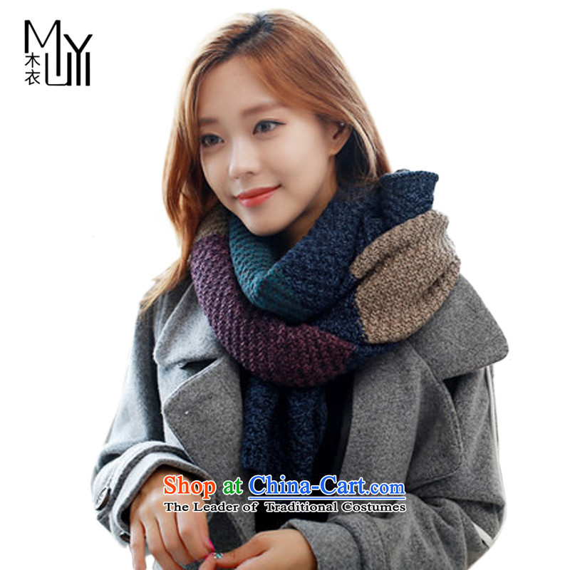 Wooden Yi autumn and winter Korean male spell color knitting warm a new Knitting scarvesWJM005 couples ThickBlue purple see commodity Properties