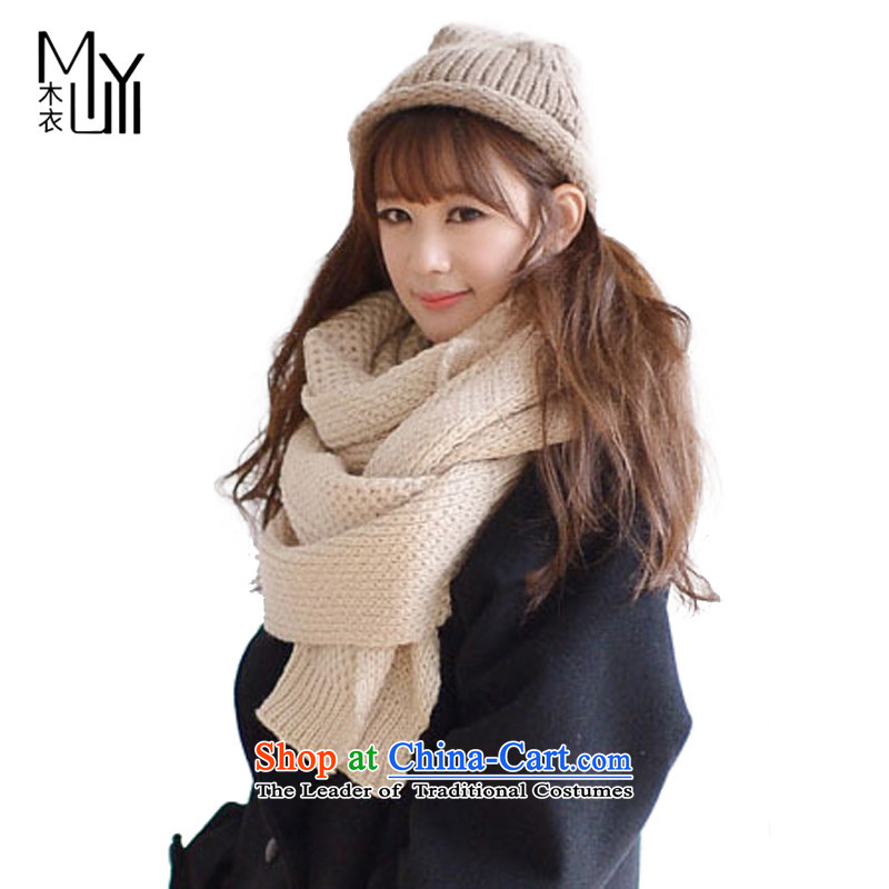 Wooden Yi pure color Knitting scarves knitted scarf Ms. men couples won warm thickWJM021 versionbeige see commodity Properties