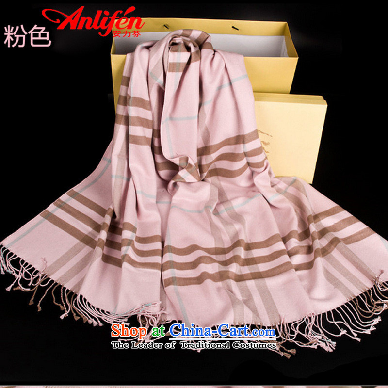 The power-fan & English Classic Grid Scarf Cashmere wool increase long thick scarf air-conditioning shawl Pink