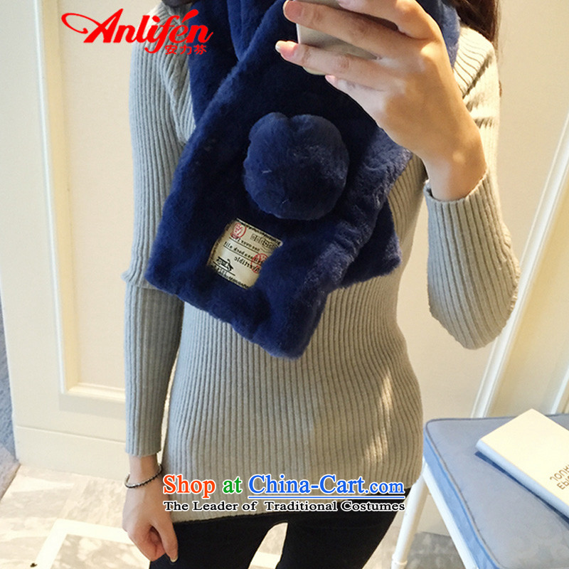 Thenew version of the Fun & thick Korean female cloth label affixed to the winter icon minimalist pure color, rabbit hair a fur blue scarf
