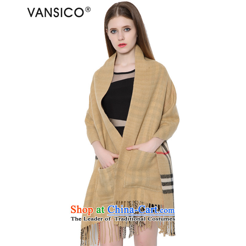 Europe and the emulation cashmere grid VANSICO edging pocket shawl scarf women and two students of autumn and winter with double-sided Thick Long mantle 8039 Western pocket - 170