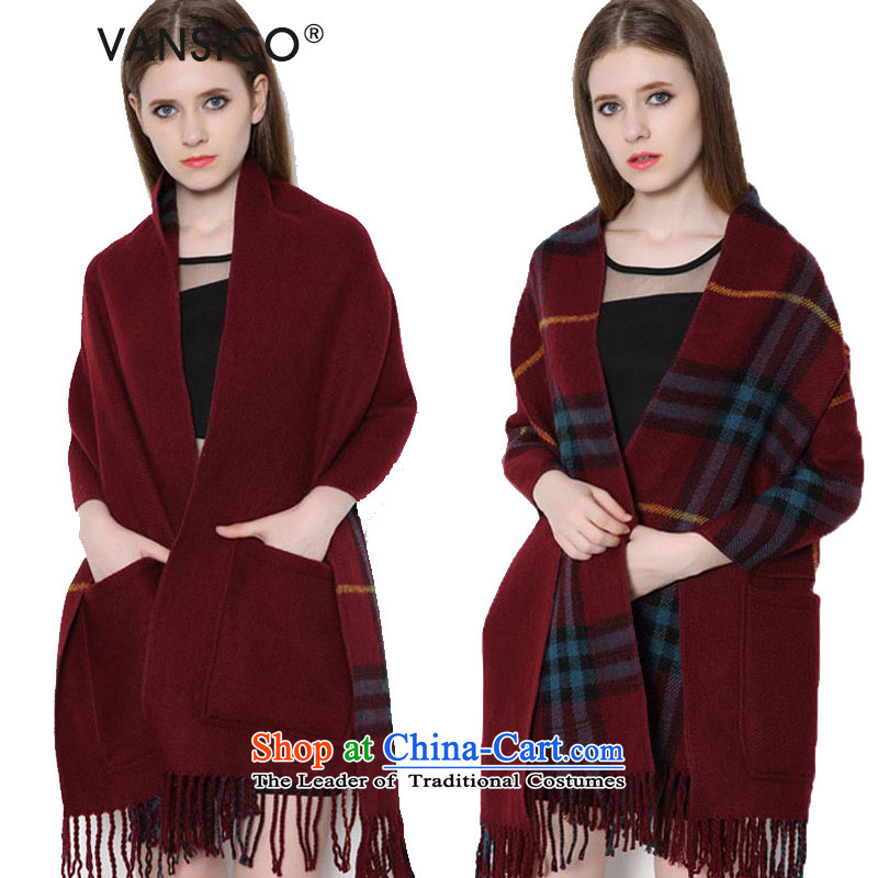 Europe and the emulation cashmere grid VANSICO edging pocket shawl scarf women and two students of autumn and winter with double-sided Thick Long mantle 8039 Western pocket - Wine red 170