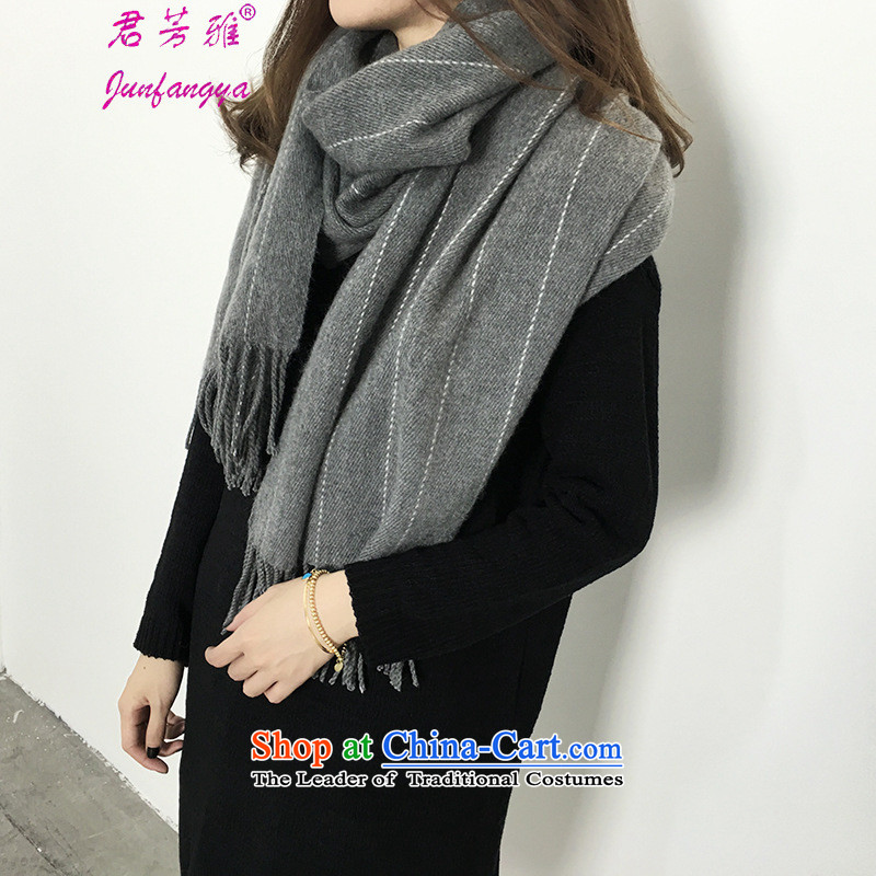 Kwan Fong Nga autumn and winter new streaks emulation pashmina shawl women thick with warm couples scarf carbon