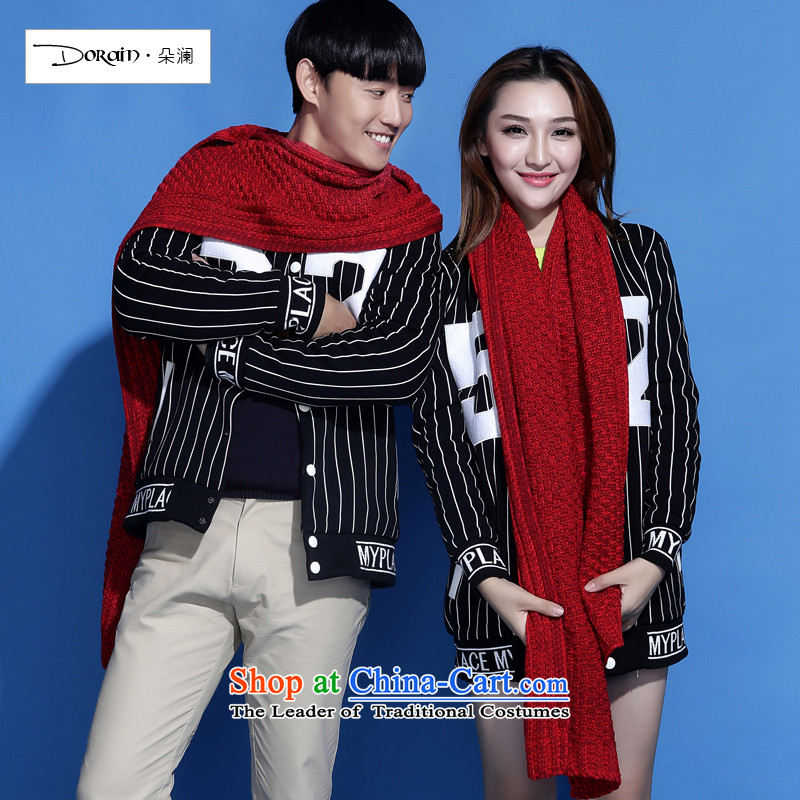 The Korean version of the world's new couples Knitting scarves knitted a long thick students wild autumn and winter universal_ Red