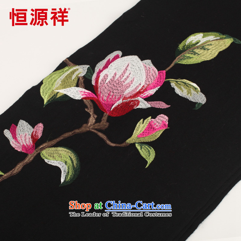 Hengyuan Cheung ethnic suzhou embroidery wooler scarf thick autumn and winter, two large shawl embroidered a warm black E17-1 185*65