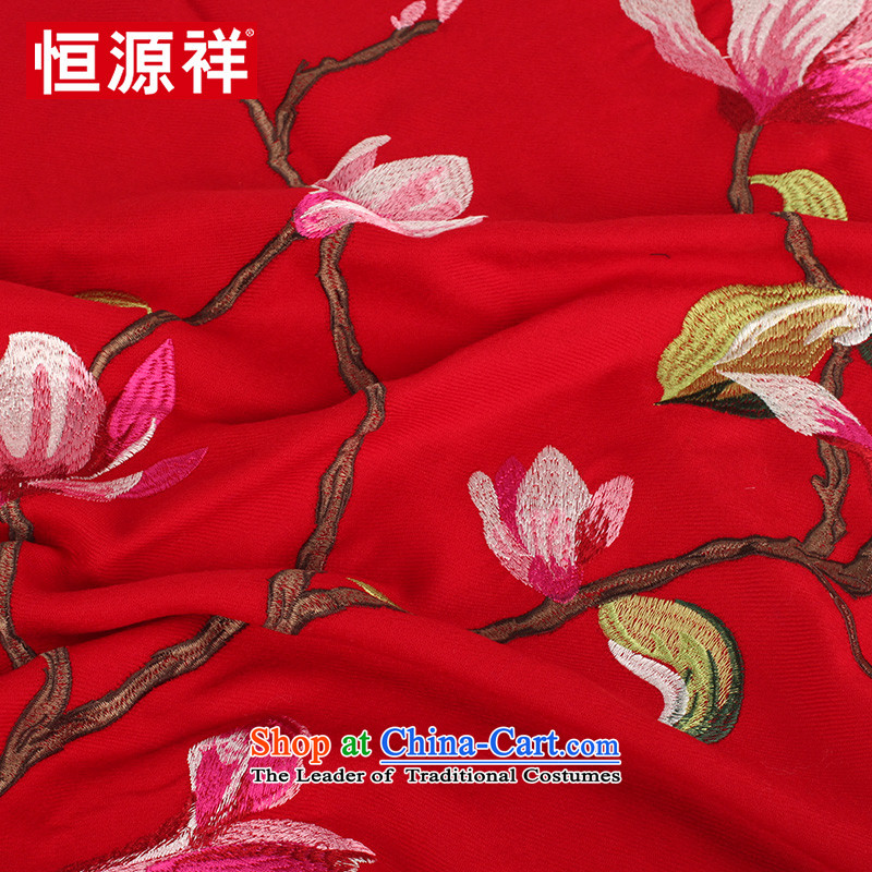 Hengyuan Cheung ethnic suzhou embroidery wooler scarf thick autumn and winter, two large shawl embroidered a warm black E17-1 185*65, Hengyuan Cheung shopping on the Internet has been pressed.