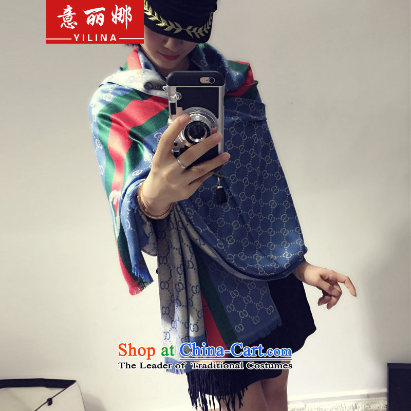 To Lai Na2015 autumn and winter new letters gold silk pashmina shawl 349 multifunction Ms. Sky Blue