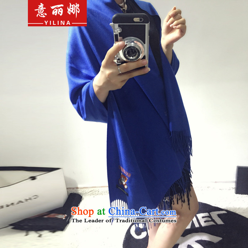 To Lai Na 2015 autumn and winter new Korean embroidery Cubs is simple and stylish edging pashmina shawl shawl multifunction 342 Royal Blue