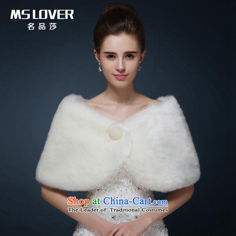 Mslover聽wedding dresses warm partner plush pearl clip hair shawl聽 MPJ151130聽Ivory