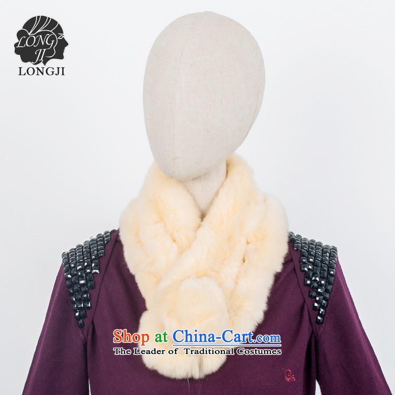 The new process rabbit hair a female scarf autumn and winter ball fur muffler warm chokeholds Maomao scarf light yellow
