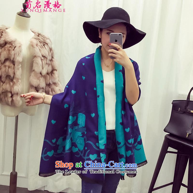 Sun Kai Man, autumn and winter new Cinderella Dreams Cartoon Lovely Love Cashmere scarf shawl XCD718 duplex blue