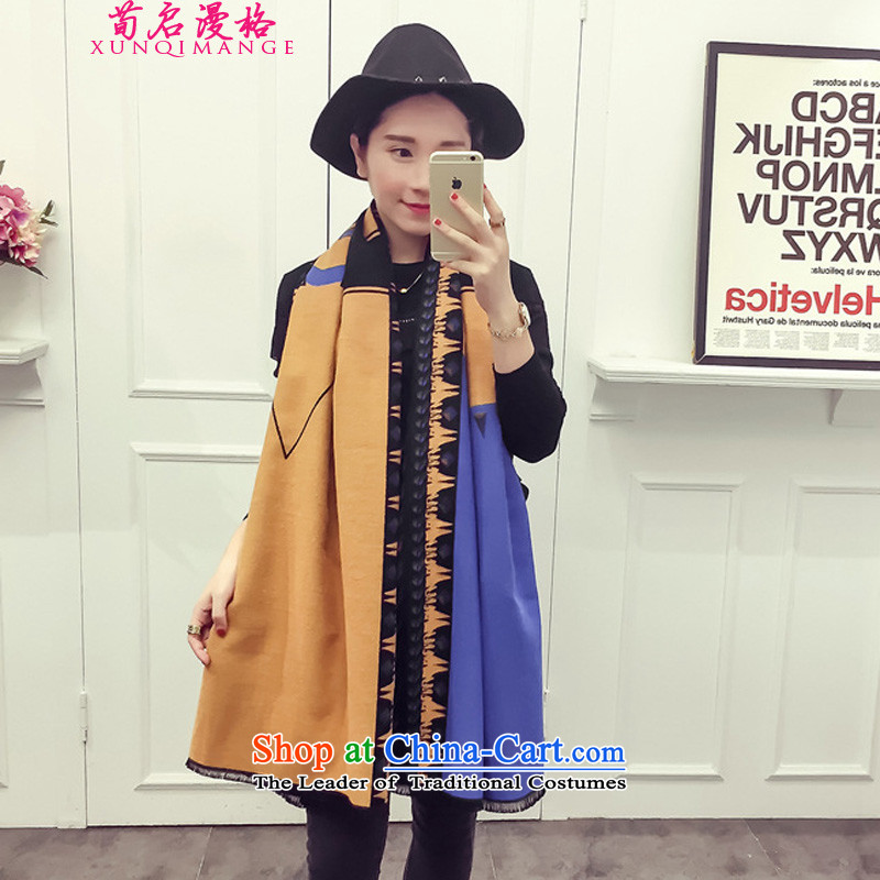 Sun Kai Man, autumn and winter new warm cashmere shawls and large double-sided female XCD722 thick map color