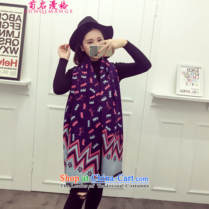 Sun Kai Man, autumn and winter new emulation Cashmere scarf lovely ponies pattern geometry large shawl XCD724 navy blue