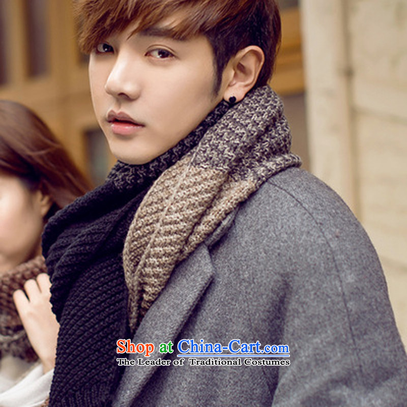 The Korean version of 2015 men scarf of autumn and winter spell color students long Knitting scarves couples a black gray color spell checker