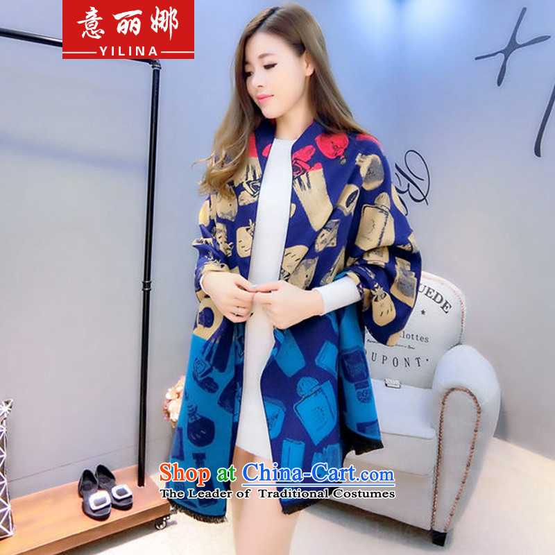 To Lai Na2015 winter perfume bottle duplex warm cashmere shawls great muffler with two extra long thick scarf female 1907 Navymi