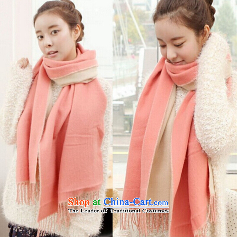 The Korean won hit a two-sided color emulation version Cashmere scarf soft delicate women edging warm-long thick winter4313autumn female shawl pure color gentlewoman mint green toner beige