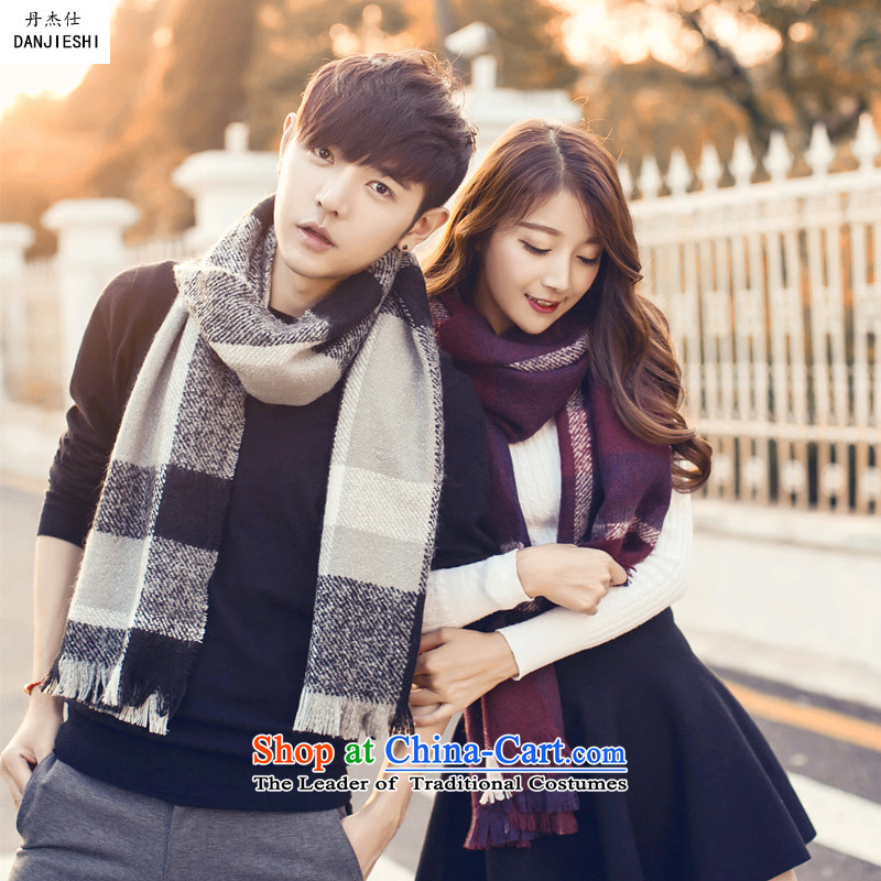 Dan Jie Shi of autumn and winter new products for couples Korean latticed thick scarf trendy men and women a Warm gray