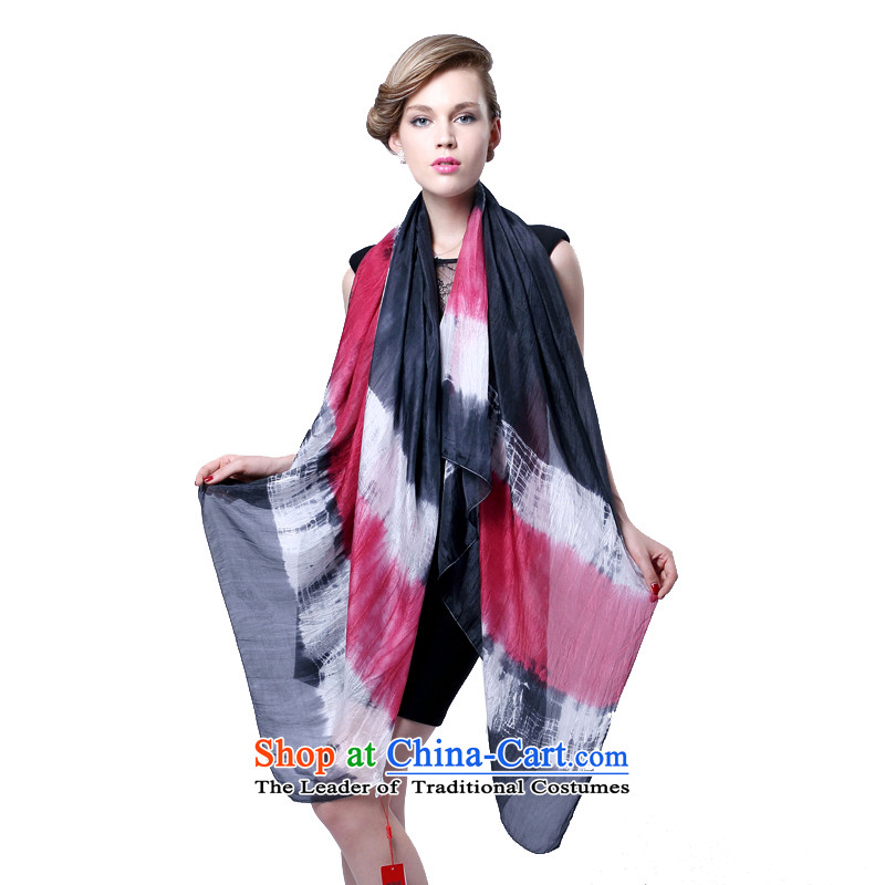 Hengyuan Cheung herbs extract hand-painted Ms. tie-dye long silk scarf (Boxset) black and red