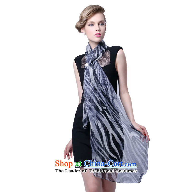 Hengyuan silk thread Ms. Cheung silk scarf (Boxset) Leopard Gray