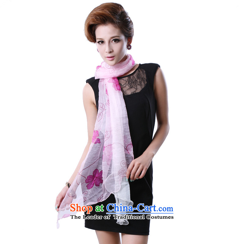 Hengyuan Ms. Cheung herbs extract long silk scarf sunscreen silk scarf (Boxset) Double Wave Pink