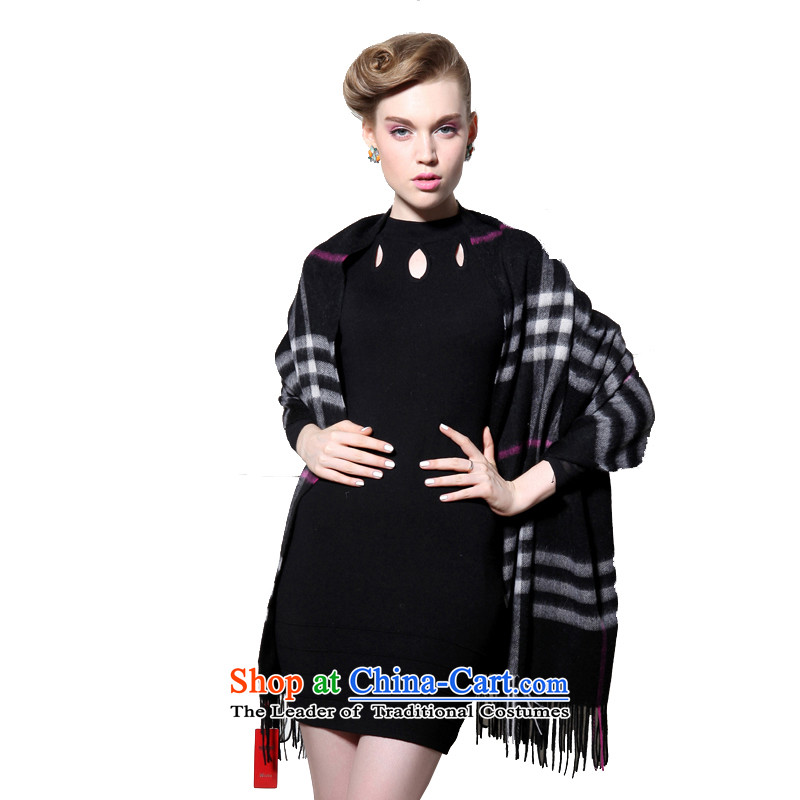 Hengyuan Cheung wool thick increase grid long shawl air-conditioning shawl (Boxset) Black