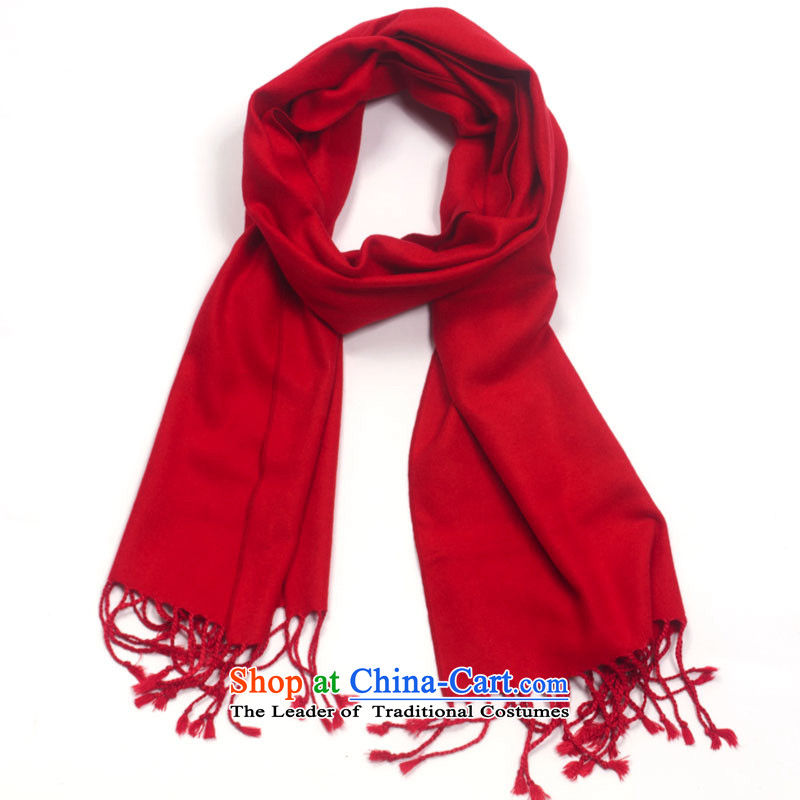 High-eup EGAO unisex silk scarves brushed monochrome longer-su warm fashion scarf pure color autumn and winter warm a shawl Red2