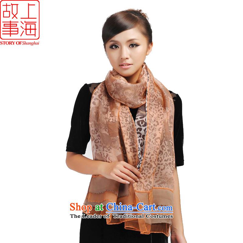 Shanghai Story new western leopard silk scarfs silk scarf jd148078 orange Gray