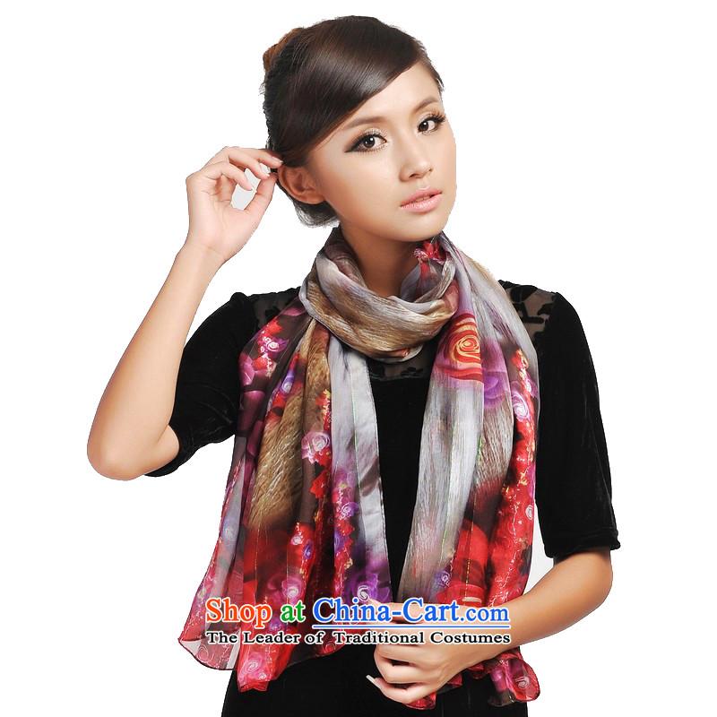 Shanghai Story painted Shanghai satin purple mists rose silk scarfs jd166062 red