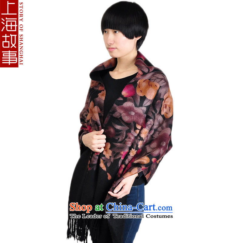 Shanghai Story Ms. wooler scarf autumn and winter thick black shawl