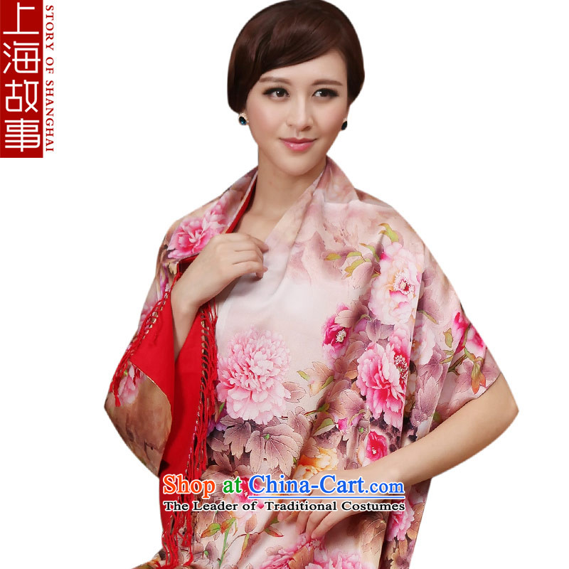 Shanghai Story silk scarves long wild herbs extract scarf female autumn and winter thick warm shawl peony flowers on a red ground