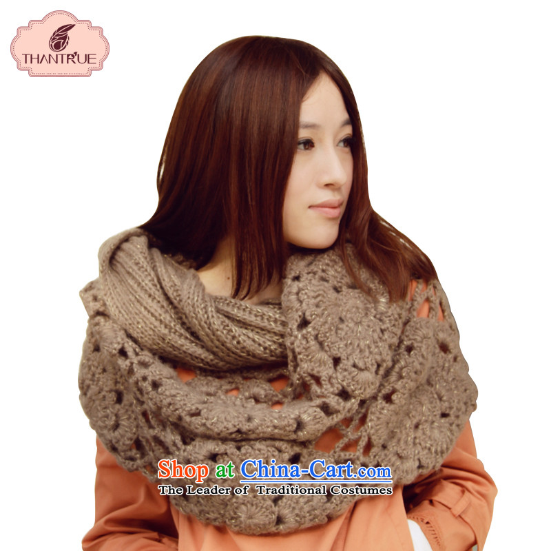 Enjoy a Korean version of true thantrue knitting Ms. Wai Shing autumn and winter, rectangular Knitting scarves youth engraving W063 warm brown
