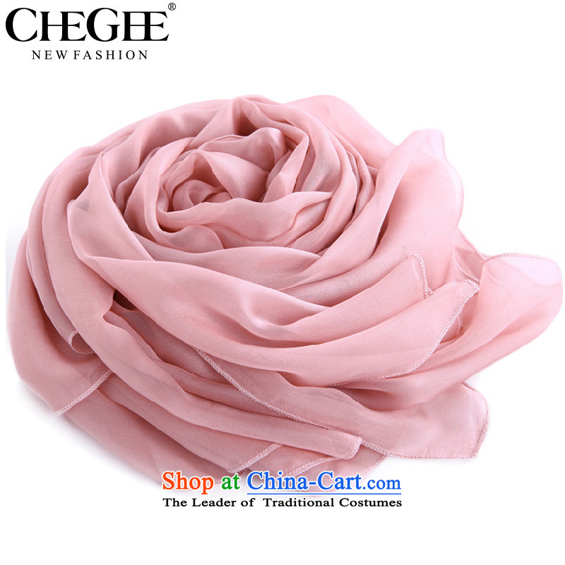 The spring and autumn thin, CHEGEE silk scarf candy color emulation silk scarves pure color thin silk scarf of Ms. intensify light pink