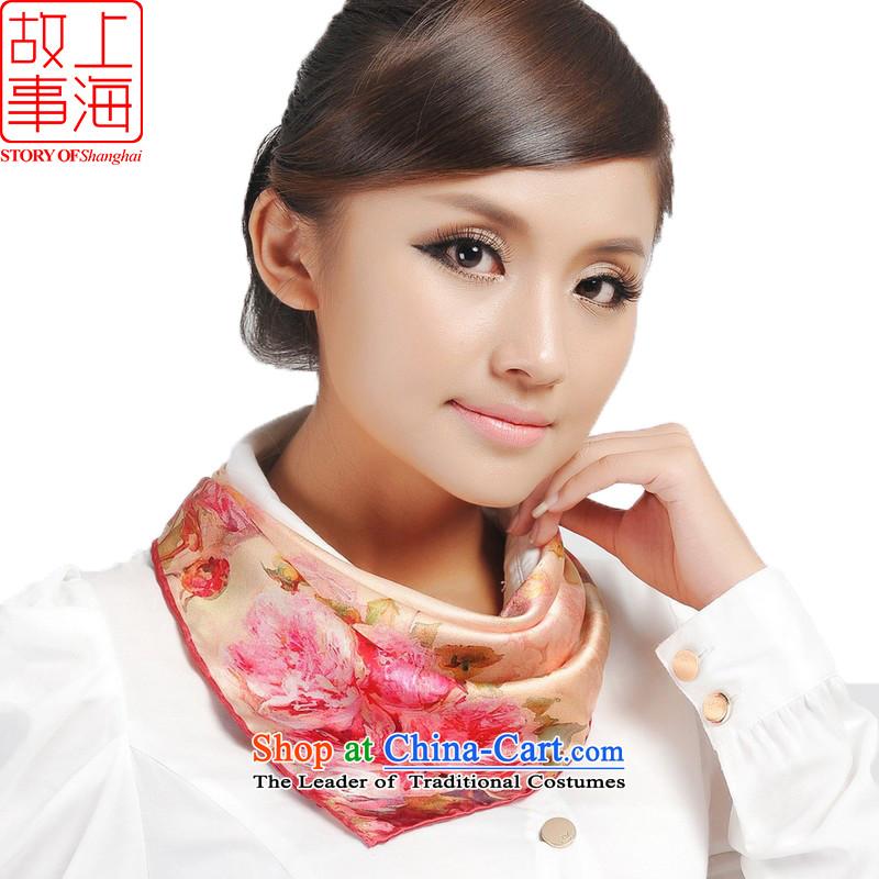 Shanghai Story digital fabric silk small square cloths stylish white collar scarf 166106 Light Pink