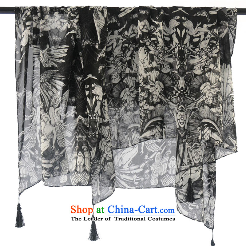 An Anthology CHEGEE hand-painted black and white silk scarf retro pattern stamp scarf sketching angel's dream pendants intensify shawl stylish aristocratic silk scarf