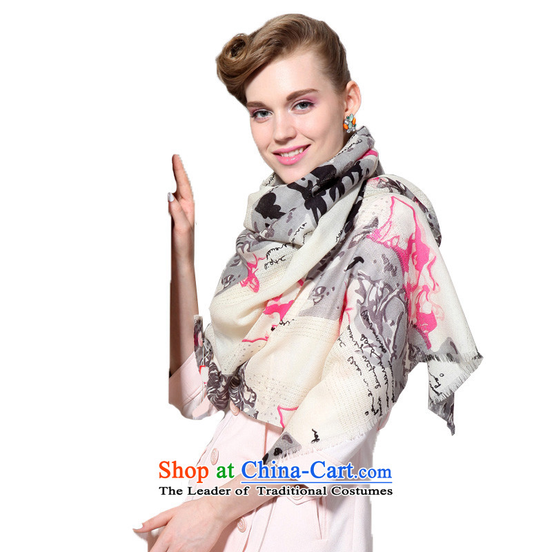 Hengyuan Cheung 2015 autumn and winter new Australian wool scarves, engraving long air-conditioned coagulates shawl gift box gray Gray