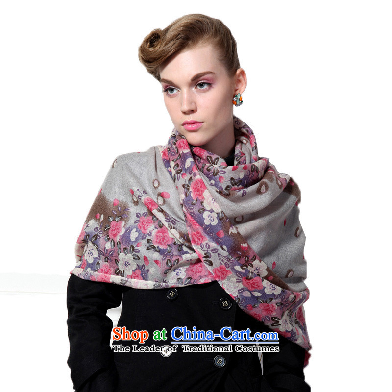 Hengyuan Cheung wool Ms. stamp long scarf gifts (Boxset) Baihua Zhengyan,Gray Baihua Zhengyan,Gray