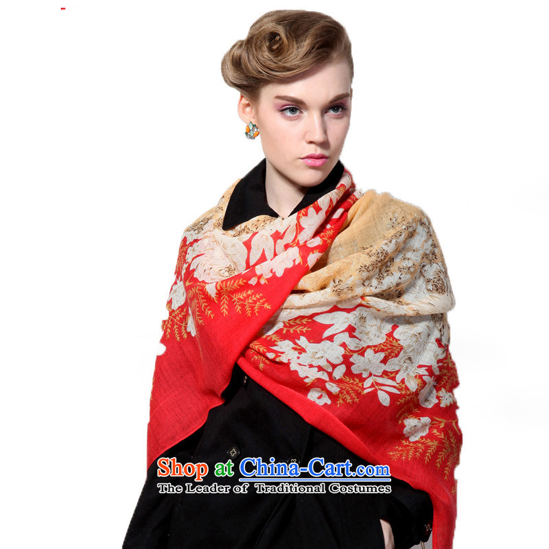 Hengyuan Cheung wool Ms. stamp long scarf gifts (Boxset) Red and yellow red and yellow
