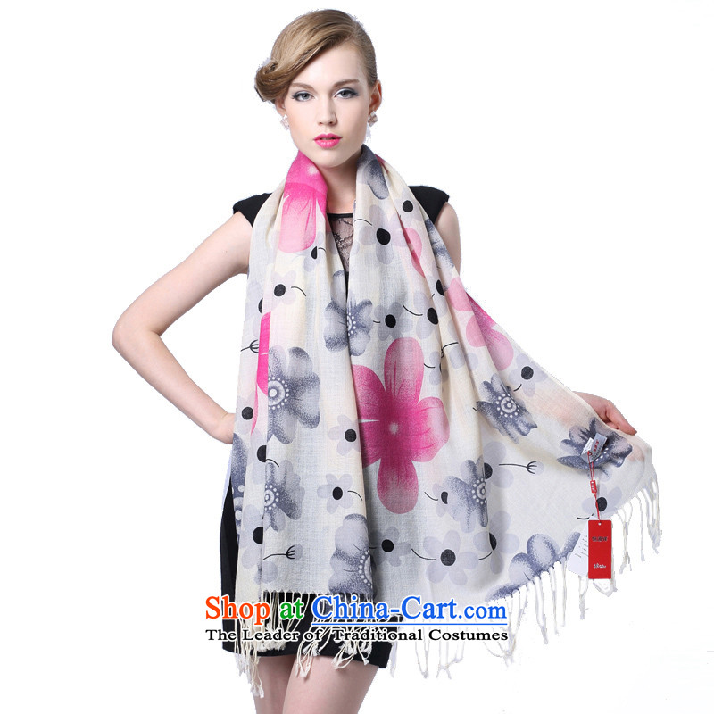 Hengyuan Cheung wool Ms. stamp long scarf gifts _Boxset_ floral soft gray powder