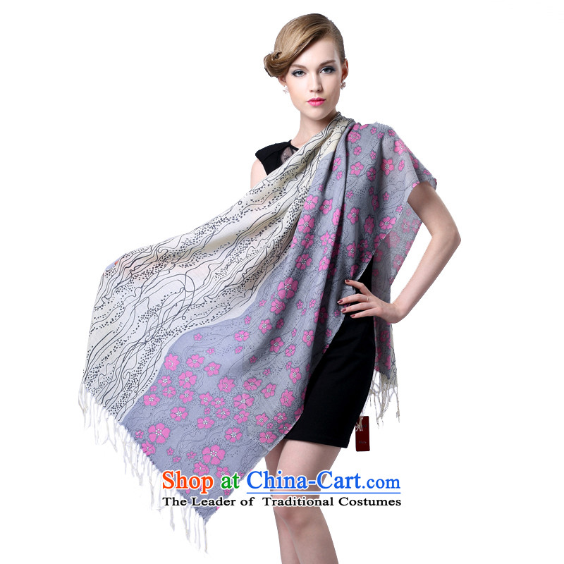 Hang Cheung fine wool source LADIES PRINTED long scarf gifts _Boxset_ snowflakes dancing gray powder