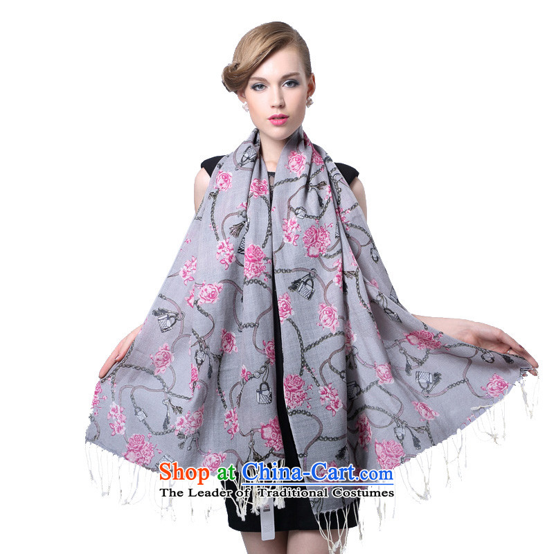 Hengyuan Cheung worsted fine wool stamp long scarf flower Love (Boxset) Gray