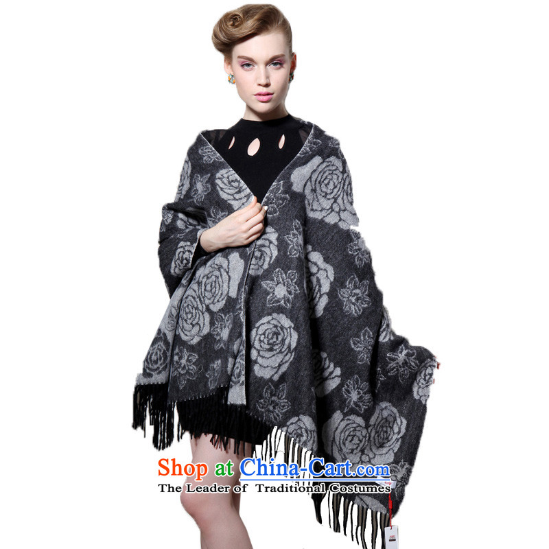 Hengyuan Cheung wool thick Ms. increase long shawl air-conditioning shawl Roses _Boxset_ Gray