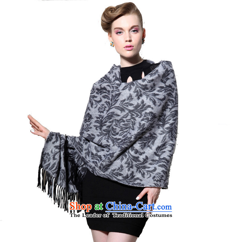 Hengyuan Cheung wool thick Ms. increase long shawl air-conditioning shawl Tang Zhuo Flower _Boxset_ Gray