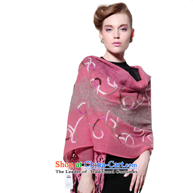 Hang Cheung wool disc source Ms. long shawl embroidered air-conditioning shawl (Boxset) (Su Pink
