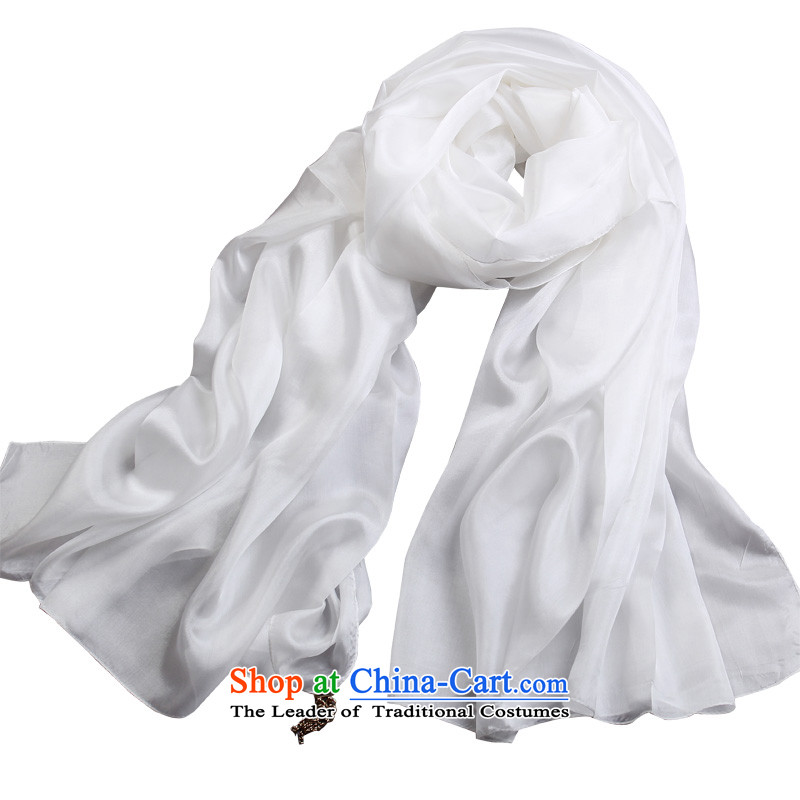 Shanghai Story autumn and winter silk herbs extract increased extra-long silk scarf pure color White