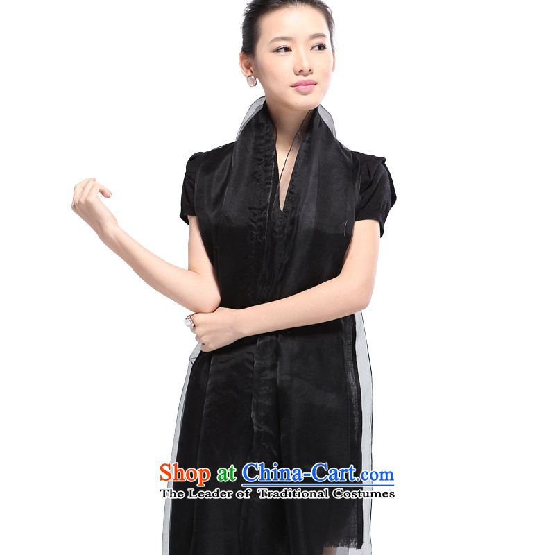 Shanghai Story female autumn and winter wool silk solid color pearl decorated Duplex Long Black Scarf