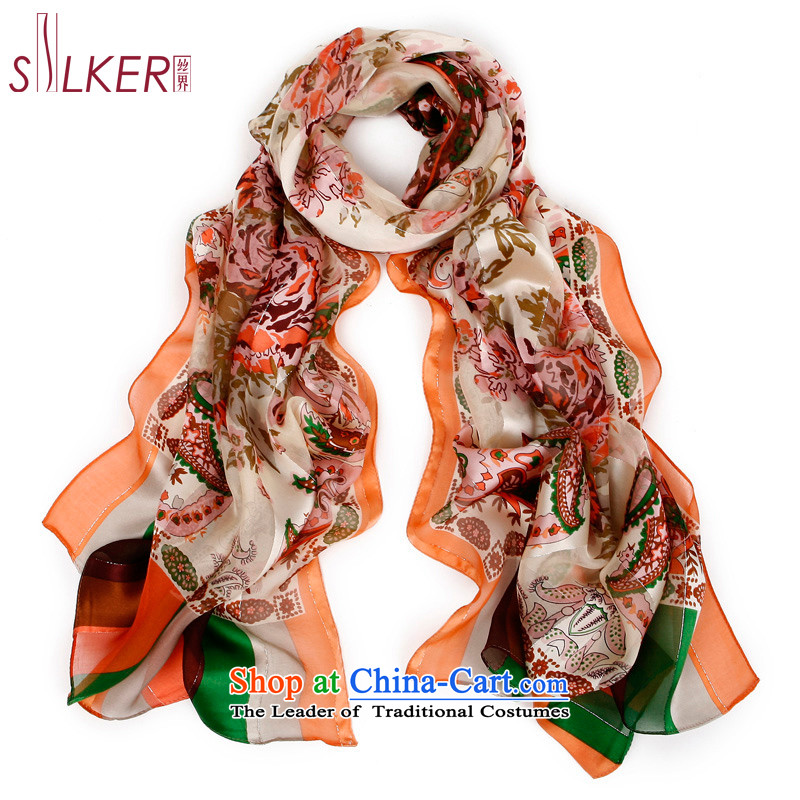 The population of the New Territories 100 herbs extract plant flowers stamp silk scarves spend in 3 orange