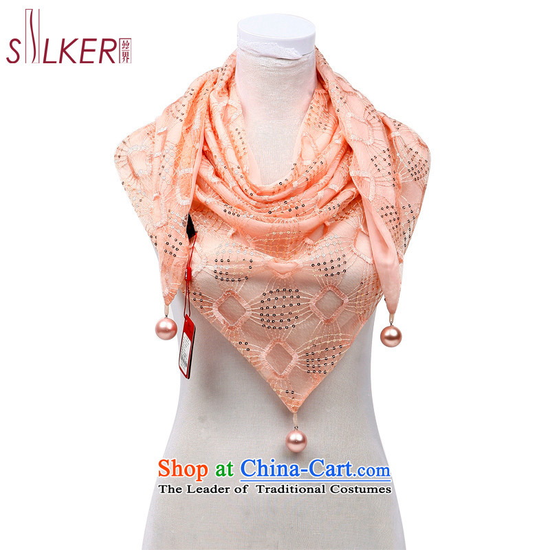 The population sector 2013 Spring new women's double triangular light on-Chip Design of silk scarf temperament happiness password Pink